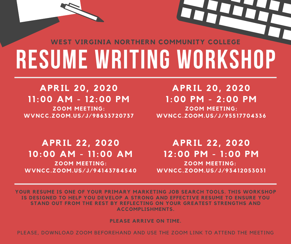 Calendar Resume Writing Workshop Wvncc West Virginia Northern Community College Accounting Degree Business Administration Degree Education Degree Nursing Degree Radiography Degree Medical Assistant