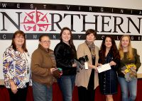 WVNCC presents items collected and a check to the Greater Wheeling Coalition for the Homeless. (L to R) Joyce Britt, faculty advisor, SCARSI, Misty Pullen, WVNCC student & SCARSI Club member, Eden Plogger, WVNCC student & SCARSI Club member, Dr. Vicki L. Riley, president of WVNCC, Lisa Badia, executive director of the Greater Wheeling Coalition for the Homeless, Jordan Harris, program director for the Greater Wheeling  Coalition for the Homeless.