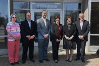 L-R Anita Dehlem, WVNCC Nursing faculty; David Artman, WMC Chief Operating Officer; Gabe D'Ortenzio, WMC Director of Human Resources; Dr. Vicki L. Riley, WVNCC President; Denise Westwood, WMC Chief Nursing Officer; John Frankovitch, WMC President/CEO.