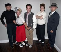 "Cast members of Mystery Theatre Unlimited's dinner theatre show ""Johnny B. Dead"" are, from left, Bert Furioli as Bongo, Butch Maxwell as Johnny Armstrong, Renee Zelinski as Joanie Chachi, Josh DeBeni as Popov Smirnoff and Michael Moran as Special Agent Jack Storm. The show will be presented beginning at 6:30 p.m. Oct. 24 at the Mollohan Center as a fund-raiser for West Virginia Northern Community College's New Martinsville campus."