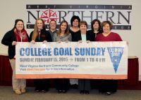 West Virginia Northern Community College is hosting College Goal Sunday Feb. 15 on its Wheeling campus and financial aid experts from four area institutions of higher education will be providing assistance in filling out the FAFSA form. Front row, holding the sign, from left, are Erika Rohrig, Bethany College; Molly Daniels, Wheeling Jesuit University; Kelly Dlesk, WVNCC; Janet Fike, WVNCC, and Christi Tomczyk, Wheeling Jesuit University. In back, from left, are Sarah Griffith, WVNCC; Kim Hart, WVNCC, and Renee Ash, Wheeling Jesuit University. Absent from the photo is Katie Cooper, West Liberty University, who also will be participating.